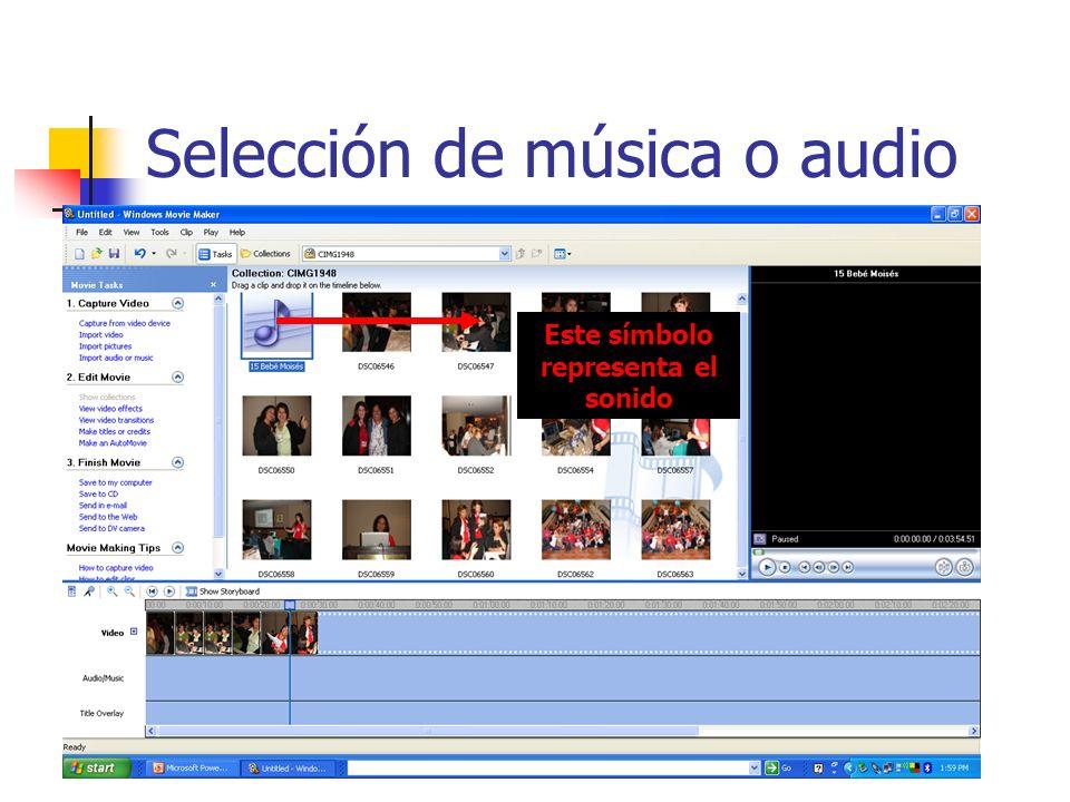 Selección de música o audio Este símbolo representa el sonido
