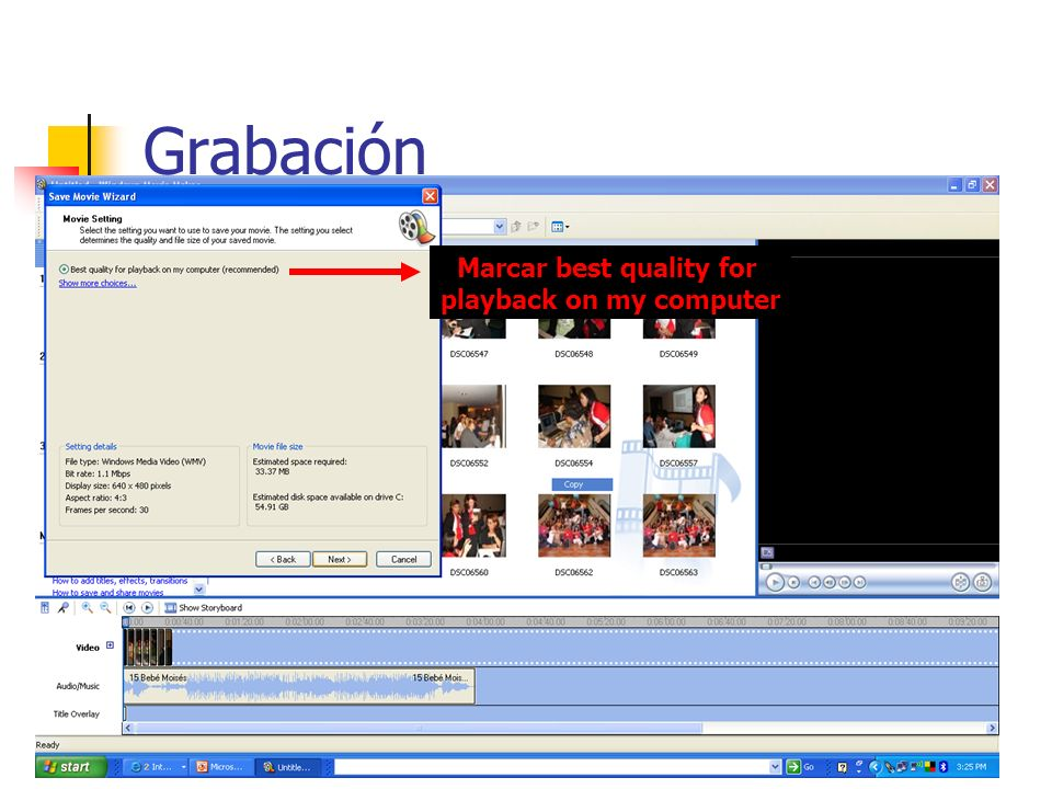 Grabación Marcar best quality for playback on my computer