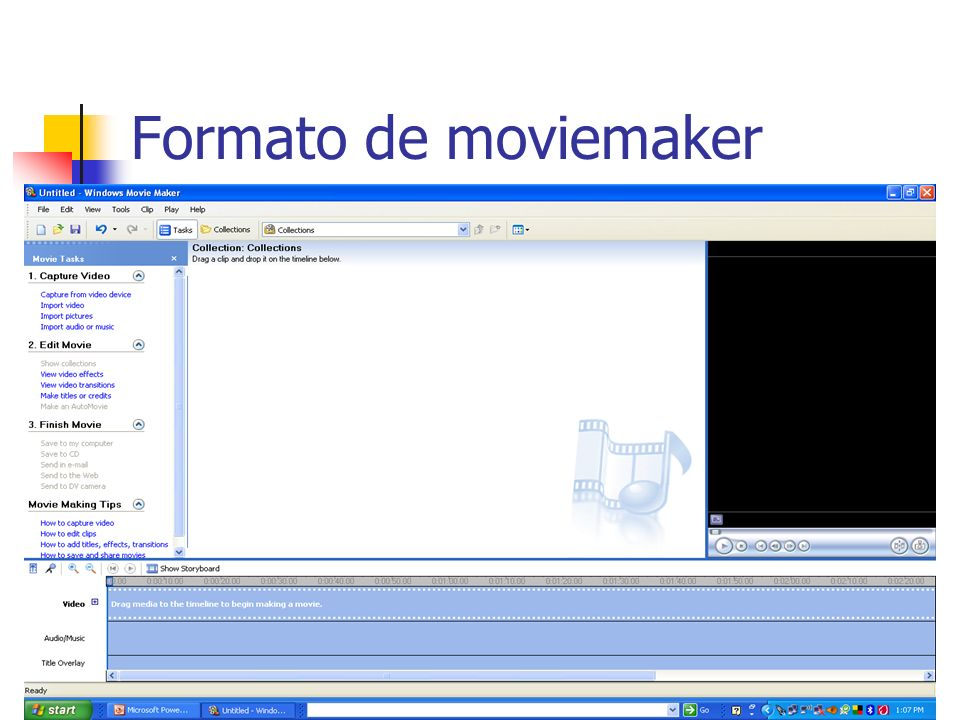 Partes de programa Permite seleccionar fotos, videos, audio y música (preferiblemente que este grabados en la computadora.