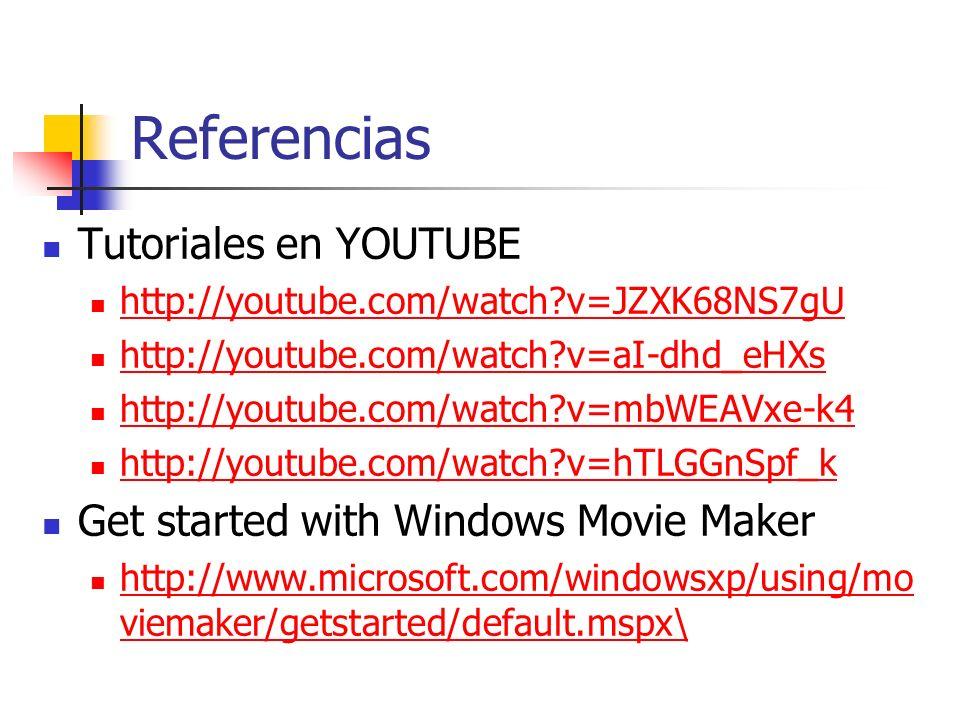 Referencias Tutoriales en YOUTUBE http://youtube.com/watch?v=JZXK68NS7gU http://youtube.com/watch?v=aI-dhd_eHXs http://youtube.com/watch?v=mbWEAVxe-k4