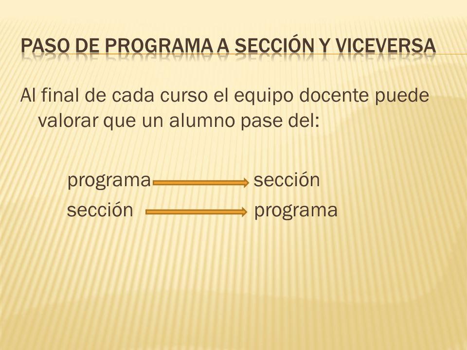 Al final de cada curso el equipo docente puede valorar que un alumno pase del: programasección secciónprograma