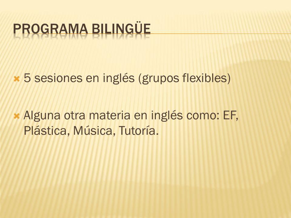 5 sesiones en inglés (grupos flexibles) Alguna otra materia en inglés como: EF, Plástica, Música, Tutoría.