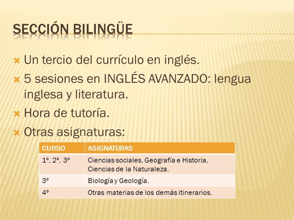 Un tercio del currículo en inglés. 5 sesiones en INGLÉS AVANZADO: lengua inglesa y literatura. Hora de tutoría. Otras asignaturas: CURSOASIGNATURAS 1º