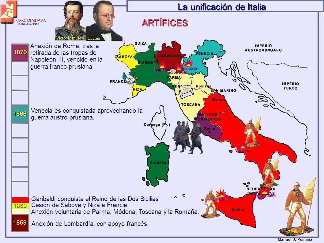 1866 1860 Anexión de Lombardía, con apoyo francés. 1859 Magenta Solferino Anexión voluntaria de Parma, Módena, Toscana y la Romaña. Cesión de Saboya y