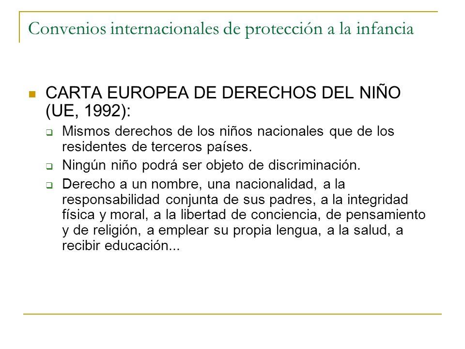 Convenios internacionales de protección a la infancia CARTA EUROPEA DE DERECHOS DEL NIÑO (UE, 1992): Mismos derechos de los niños nacionales que de lo