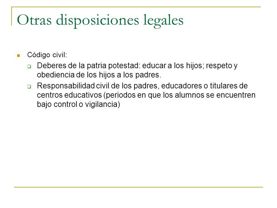 Otras disposiciones legales Código civil: Deberes de la patria potestad: educar a los hijos; respeto y obediencia de los hijos a los padres. Responsab