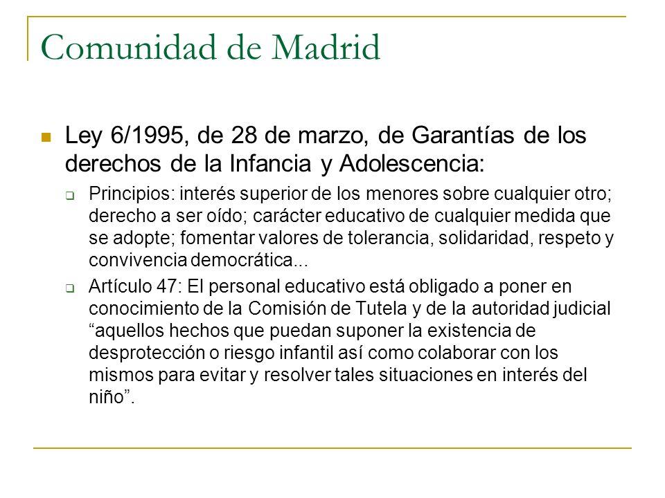 Comunidad de Madrid Ley 6/1995, de 28 de marzo, de Garantías de los derechos de la Infancia y Adolescencia: Principios: interés superior de los menore
