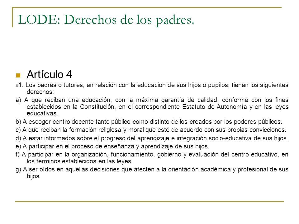 LODE: Derechos de los padres. Artículo 4 « 1. Los padres o tutores, en relación con la educación de sus hijos o pupilos, tienen los siguientes derecho