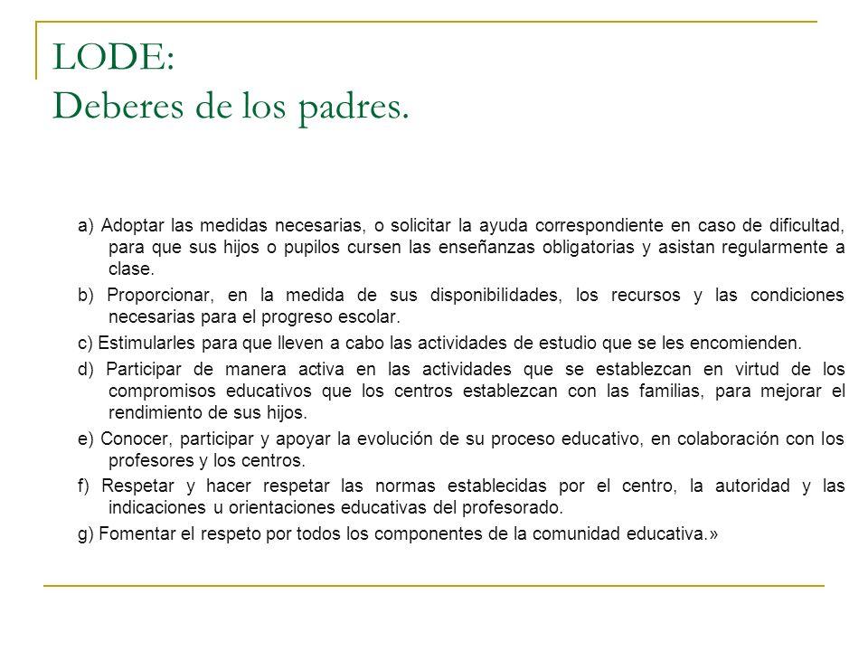 LODE: Deberes de los padres. a) Adoptar las medidas necesarias, o solicitar la ayuda correspondiente en caso de dificultad, para que sus hijos o pupil