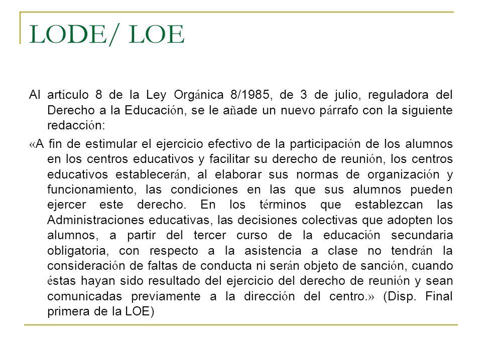 LODE/ LOE Al art í culo 8 de la Ley Org á nica 8/1985, de 3 de julio, reguladora del Derecho a la Educaci ó n, se le a ñ ade un nuevo p á rrafo con la