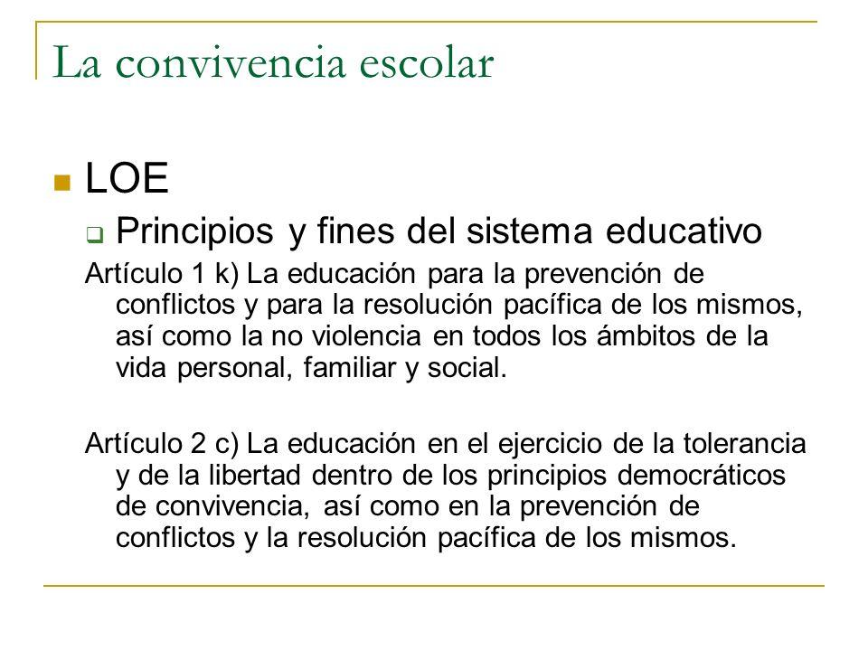 La convivencia escolar LOE Principios y fines del sistema educativo Artículo 1 k) La educación para la prevención de conflictos y para la resolución p