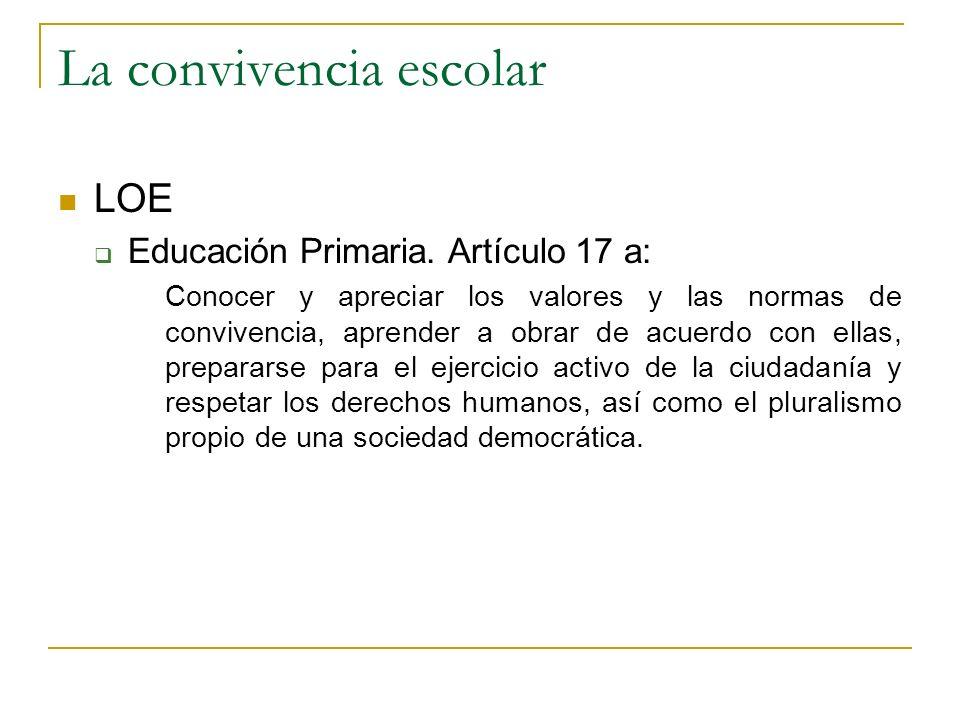 La convivencia escolar LOE Educación Primaria. Artículo 17 a: Conocer y apreciar los valores y las normas de convivencia, aprender a obrar de acuerdo