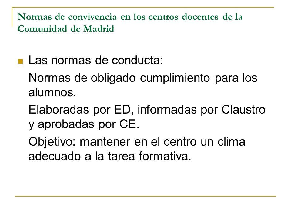 Normas de convivencia en los centros docentes de la Comunidad de Madrid Las normas de conducta: Normas de obligado cumplimiento para los alumnos. Elab
