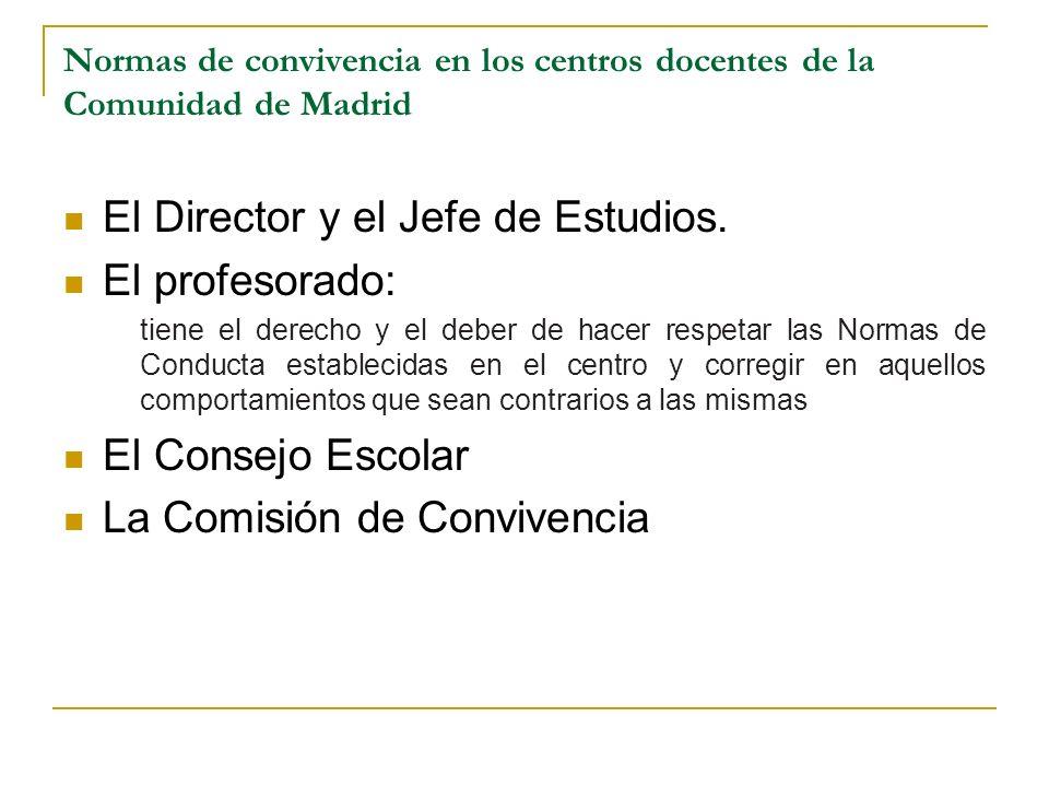 Normas de convivencia en los centros docentes de la Comunidad de Madrid El Director y el Jefe de Estudios. El profesorado: tiene el derecho y el deber