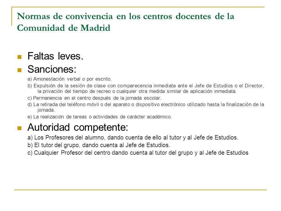 Normas de convivencia en los centros docentes de la Comunidad de Madrid Faltas leves. Sanciones: a) Amonestación verbal o por escrito. b) Expulsión de