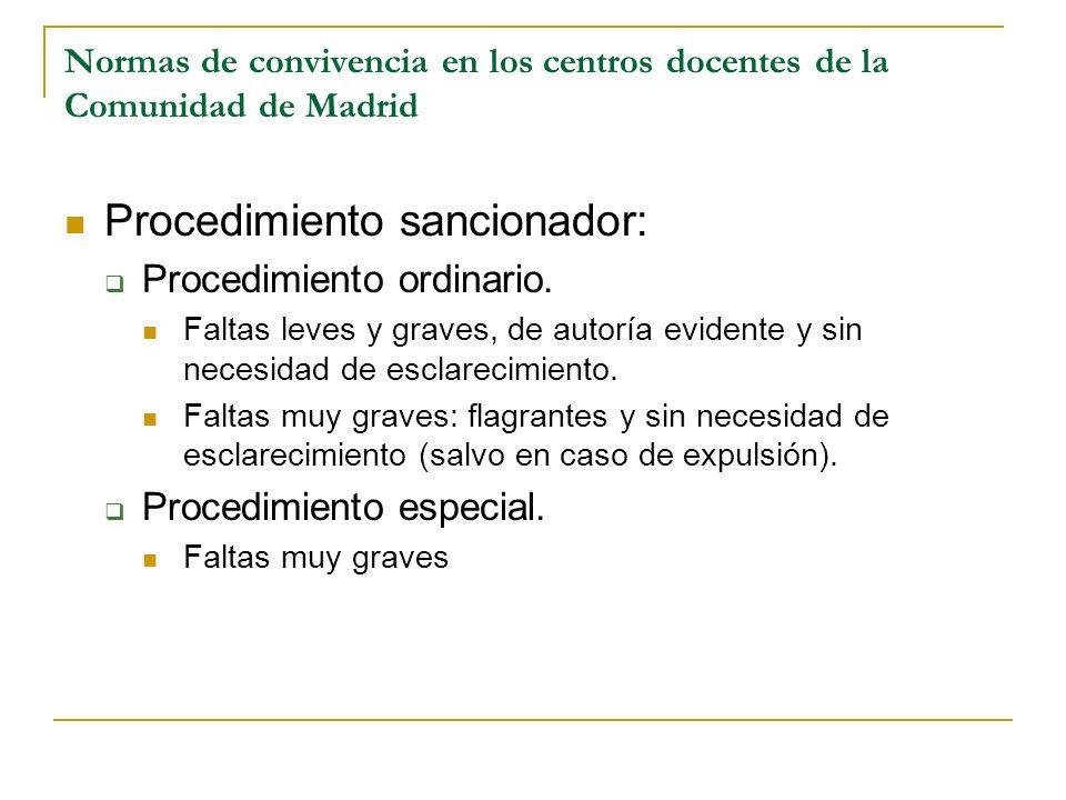 Normas de convivencia en los centros docentes de la Comunidad de Madrid Procedimiento sancionador: Procedimiento ordinario. Faltas leves y graves, de