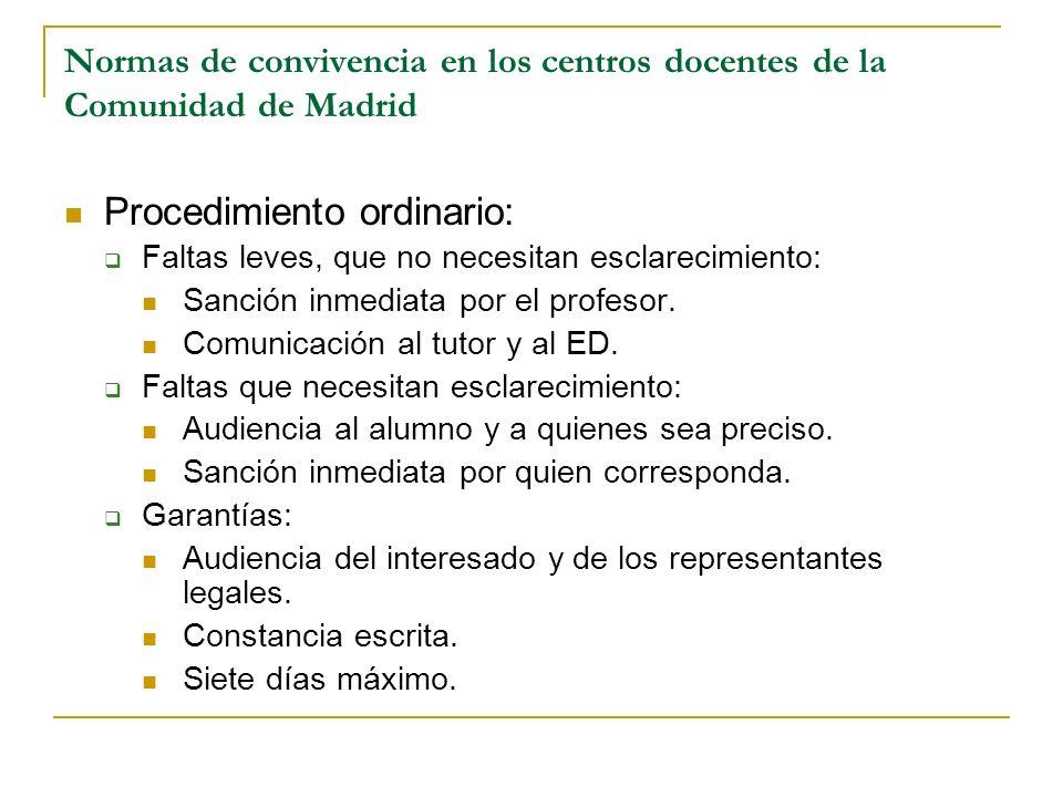 Normas de convivencia en los centros docentes de la Comunidad de Madrid Procedimiento ordinario: Faltas leves, que no necesitan esclarecimiento: Sanci