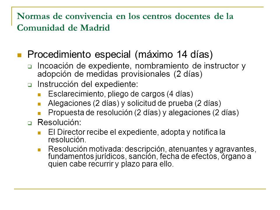Normas de convivencia en los centros docentes de la Comunidad de Madrid Procedimiento especial (máximo 14 días) Incoación de expediente, nombramiento