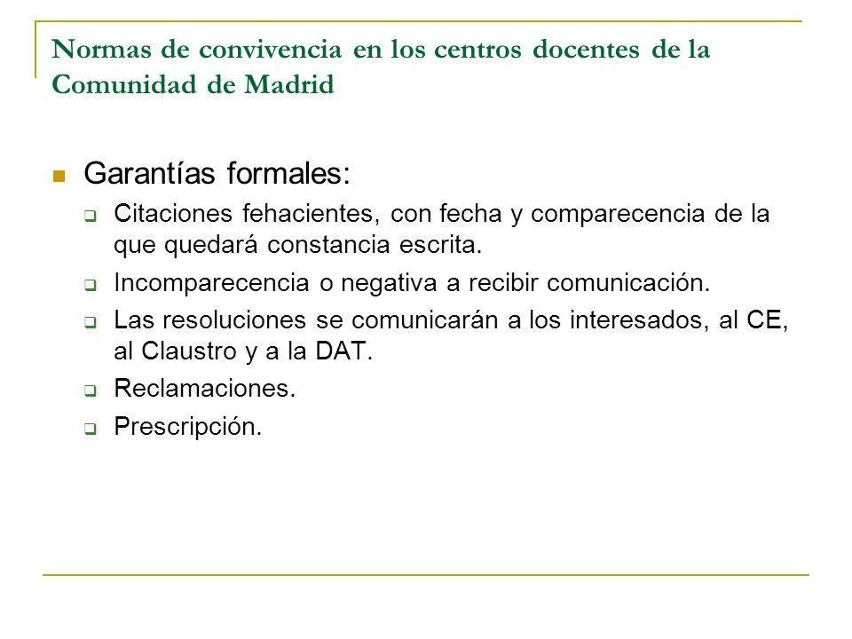 Normas de convivencia en los centros docentes de la Comunidad de Madrid Garantías formales: Citaciones fehacientes, con fecha y comparecencia de la qu