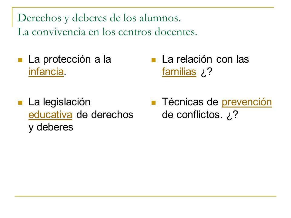 Derechos y deberes de los alumnos. La convivencia en los centros docentes. La protección a la infancia. infancia La legislación educativa de derechos