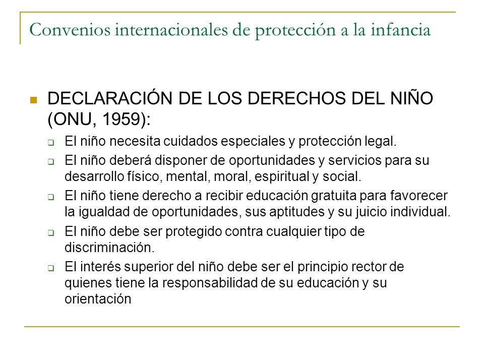 Convenios internacionales de protección a la infancia DECLARACIÓN DE LOS DERECHOS DEL NIÑO (ONU, 1959): El niño necesita cuidados especiales y protecc