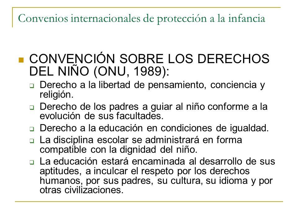 Convenios internacionales de protección a la infancia CONVENCIÓN SOBRE LOS DERECHOS DEL NIÑO (ONU, 1989): Derecho a la libertad de pensamiento, concie