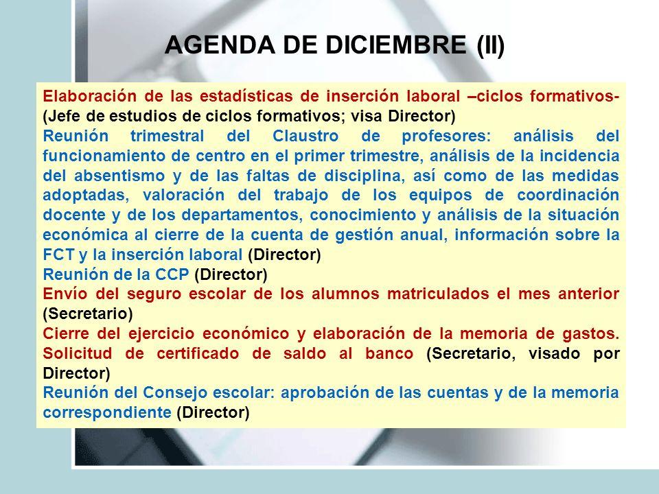 AGENDA DE DICIEMBRE (II) Elaboración de las estadísticas de inserción laboral –ciclos formativos- (Jefe de estudios de ciclos formativos; visa Directo