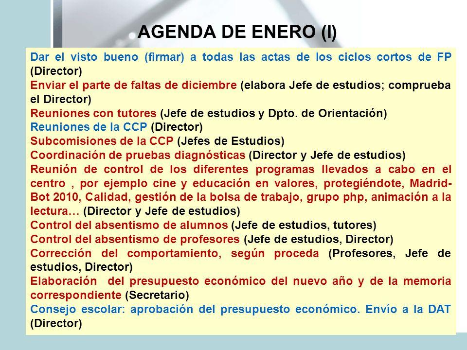 AGENDA DE ENERO (I) Dar el visto bueno (firmar) a todas las actas de los ciclos cortos de FP (Director) Enviar el parte de faltas de diciembre (elabor