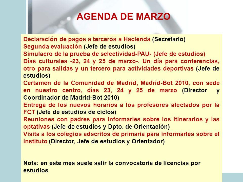 AGENDA DE MARZO Declaración de pagos a terceros a Hacienda (Secretario) Segunda evaluación (Jefe de estudios) Simulacro de la prueba de selectividad-P