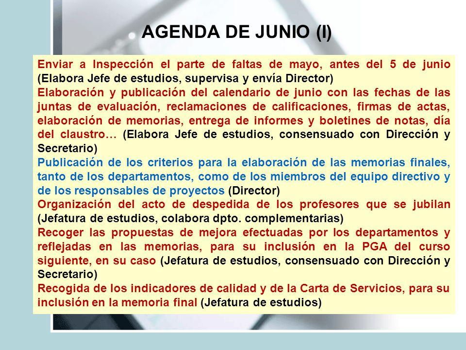 AGENDA DE JUNIO (I) Enviar a Inspección el parte de faltas de mayo, antes del 5 de junio (Elabora Jefe de estudios, supervisa y envía Director) Elabor