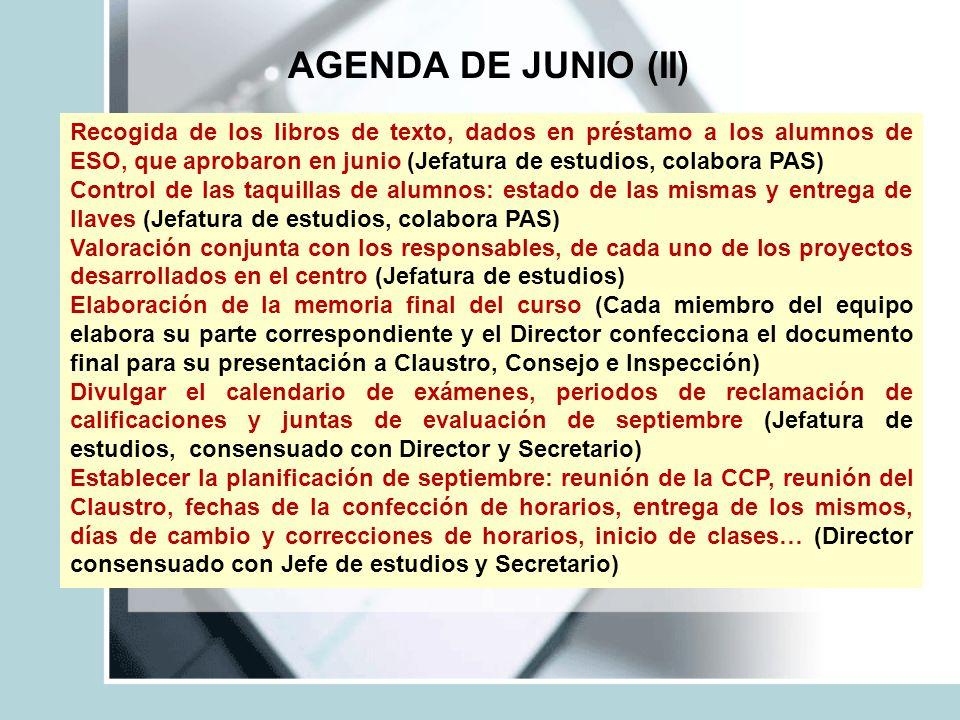 AGENDA DE JUNIO (II) Recogida de los libros de texto, dados en préstamo a los alumnos de ESO, que aprobaron en junio (Jefatura de estudios, colabora P