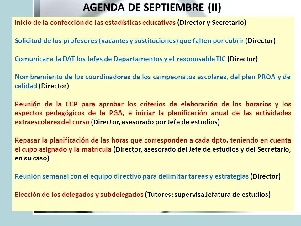 AGENDA DE SEPTIEMBRE (II) Inicio de la confección de las estadísticas educativas (Director y Secretario) Solicitud de los profesores (vacantes y susti