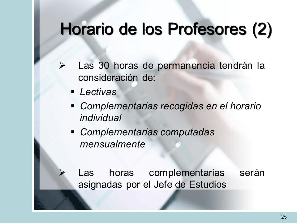 Horario de los Profesores (2) Las 30 horas de permanencia tendrán la consideración de: Lectivas Complementarias recogidas en el horario individual Com