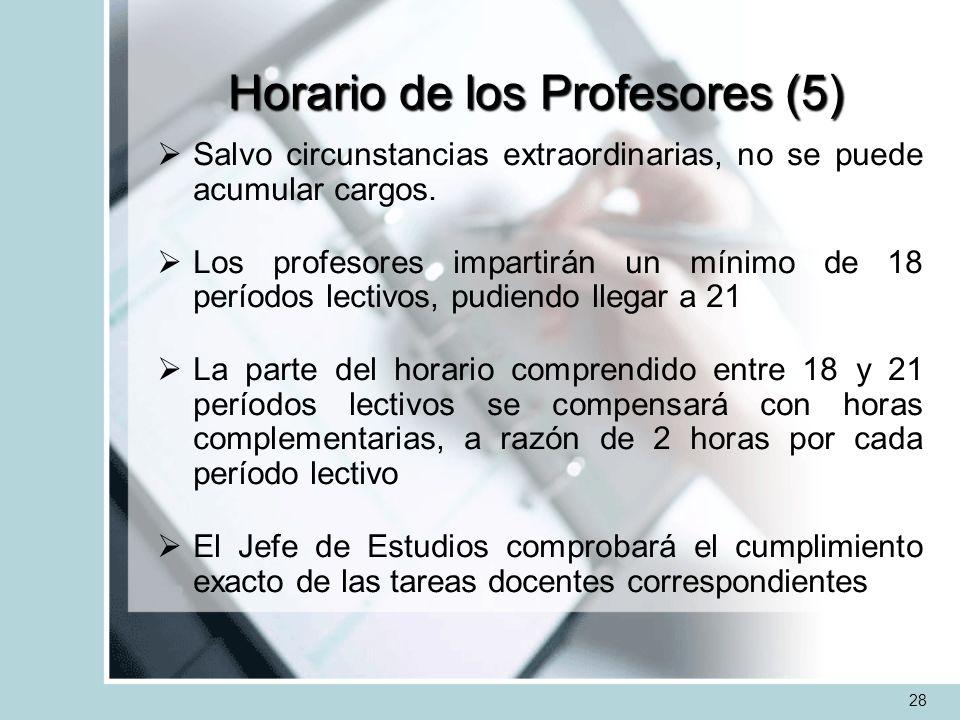 Horario de los Profesores (5) Salvo circunstancias extraordinarias, no se puede acumular cargos. Los profesores impartirán un mínimo de 18 períodos le