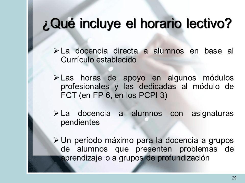 ¿Qué incluye el horario lectivo? La docencia directa a alumnos en base al Currículo establecido Las horas de apoyo en algunos módulos profesionales y