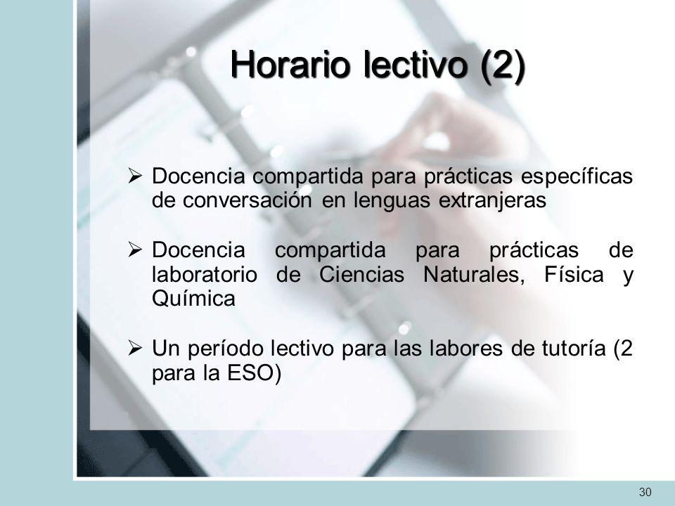 Horario lectivo (2) Docencia compartida para prácticas específicas de conversación en lenguas extranjeras Docencia compartida para prácticas de labora