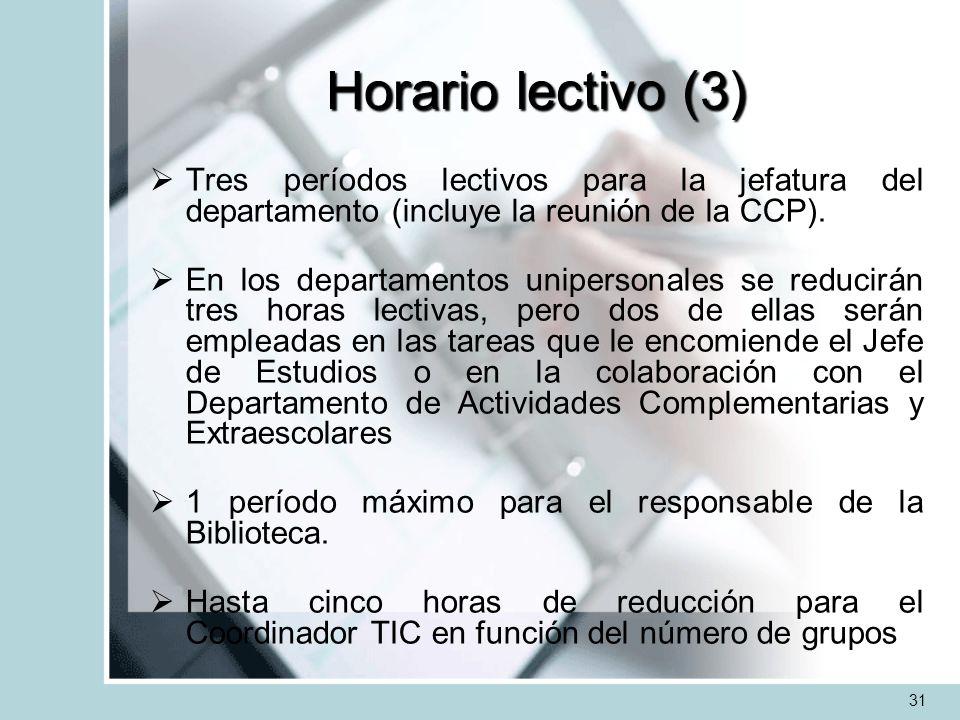 Horario lectivo (3) Tres períodos lectivos para la jefatura del departamento (incluye la reunión de la CCP). En los departamentos unipersonales se red