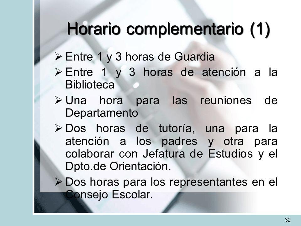Horario complementario (1) Entre 1 y 3 horas de Guardia Entre 1 y 3 horas de atención a la Biblioteca Una hora para las reuniones de Departamento Dos