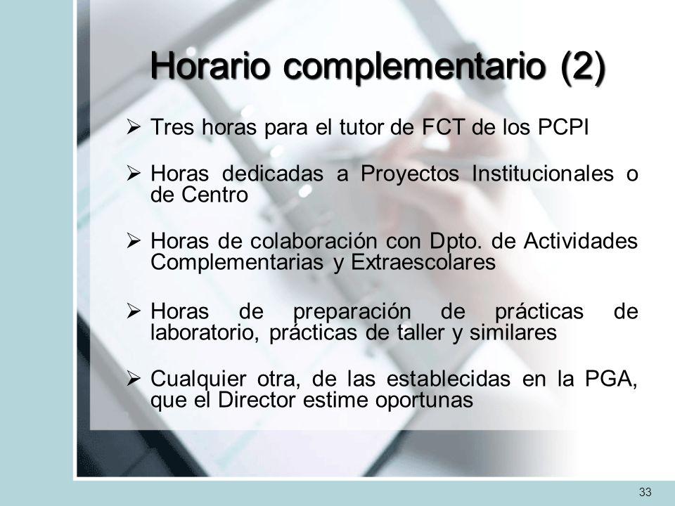 Horario complementario (2) Tres horas para el tutor de FCT de los PCPI Horas dedicadas a Proyectos Institucionales o de Centro Horas de colaboración c