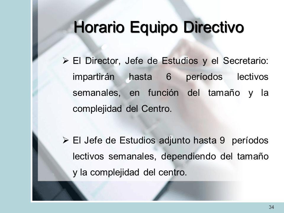 Horario Equipo Directivo El Director, Jefe de Estudios y el Secretario: impartirán hasta 6 períodos lectivos semanales, en función del tamaño y la com