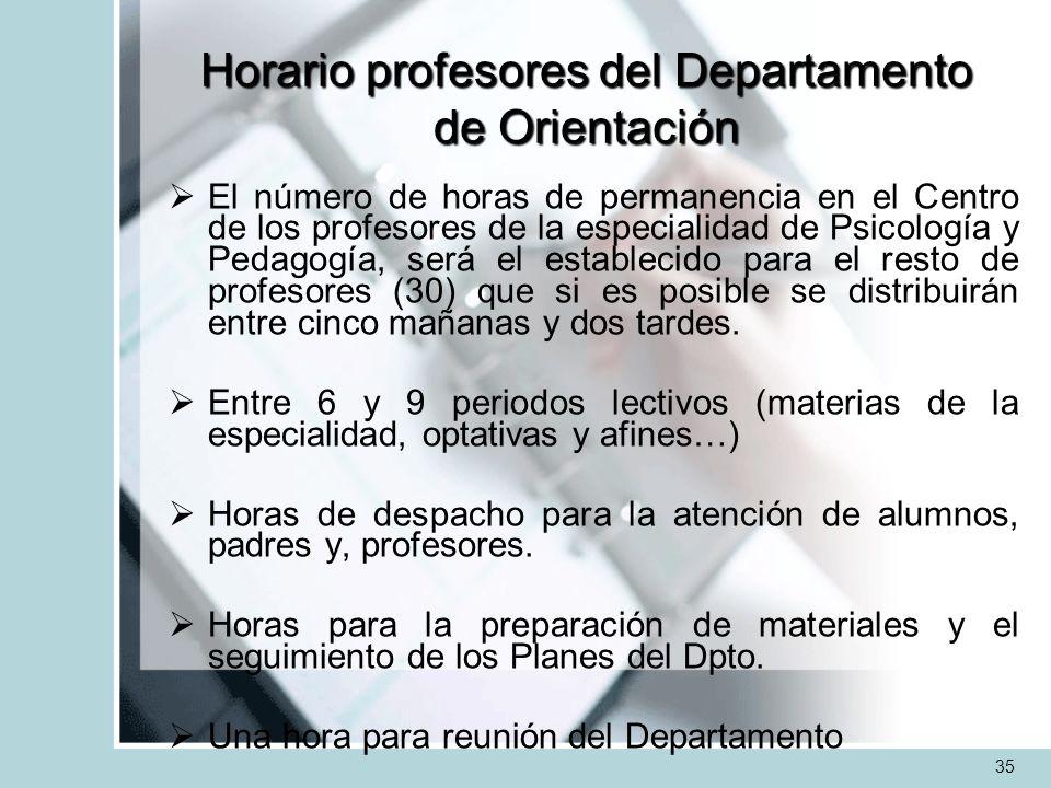Horario profesores del Departamento de Orientación El número de horas de permanencia en el Centro de los profesores de la especialidad de Psicología y