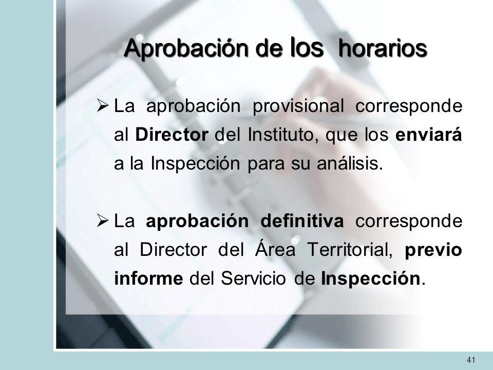 Aprobación de los horarios La aprobación provisional corresponde al Director del Instituto, que los enviará a la Inspección para su análisis. La aprob