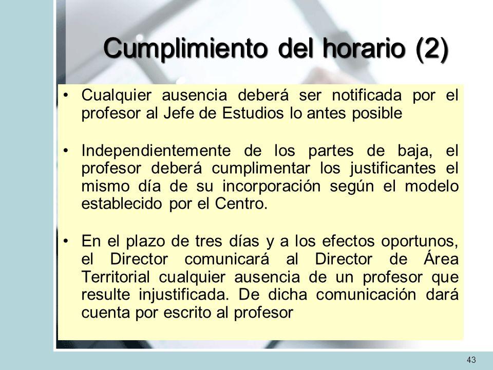 Cumplimiento del horario (2) Cualquier ausencia deberá ser notificada por el profesor al Jefe de Estudios lo antes posible Independientemente de los p