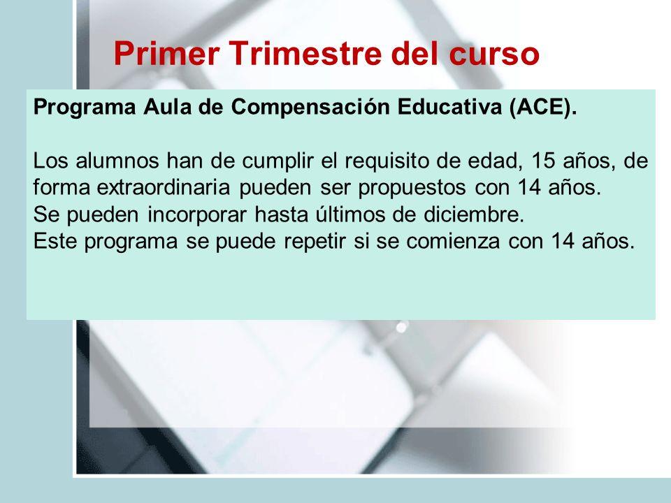 Primer Trimestre del curso Programa Aula de Compensación Educativa (ACE). Los alumnos han de cumplir el requisito de edad, 15 años, de forma extraordi