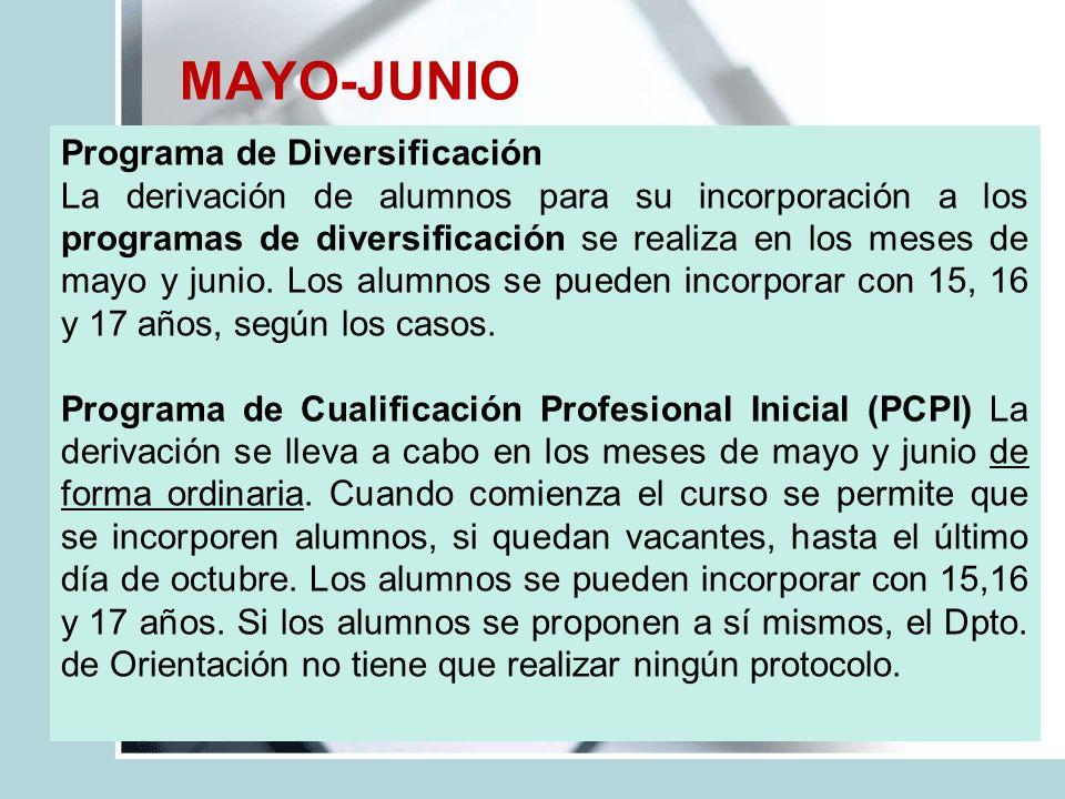 MAYO-JUNIO Programa de Diversificación La derivación de alumnos para su incorporación a los programas de diversificación se realiza en los meses de ma