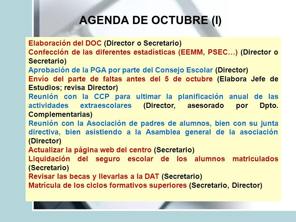 AGENDA DE OCTUBRE (I) Elaboración del DOC (Director o Secretario) Confección de las diferentes estadísticas (EEMM, PSEC…) (Director o Secretario) Apro