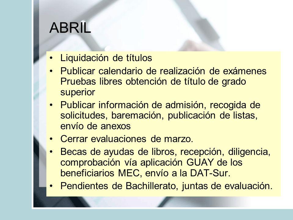 ABRIL Liquidación de títulos Publicar calendario de realización de exámenes Pruebas libres obtención de título de grado superior Publicar información