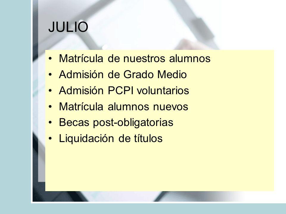 JULIO Matrícula de nuestros alumnos Admisión de Grado Medio Admisión PCPI voluntarios Matrícula alumnos nuevos Becas post-obligatorias Liquidación de