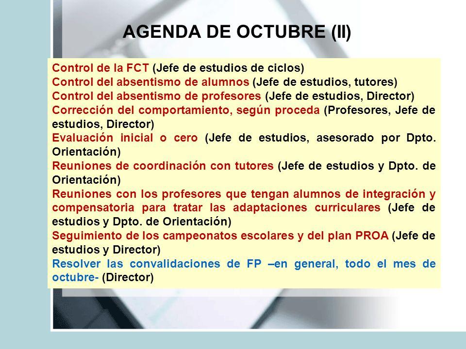 AGENDA DE OCTUBRE (II) Control de la FCT (Jefe de estudios de ciclos) Control del absentismo de alumnos (Jefe de estudios, tutores) Control del absent