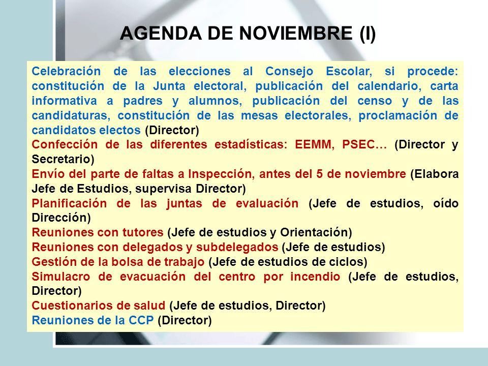 AGENDA DE NOVIEMBRE (I) Celebración de las elecciones al Consejo Escolar, si procede: constitución de la Junta electoral, publicación del calendario,